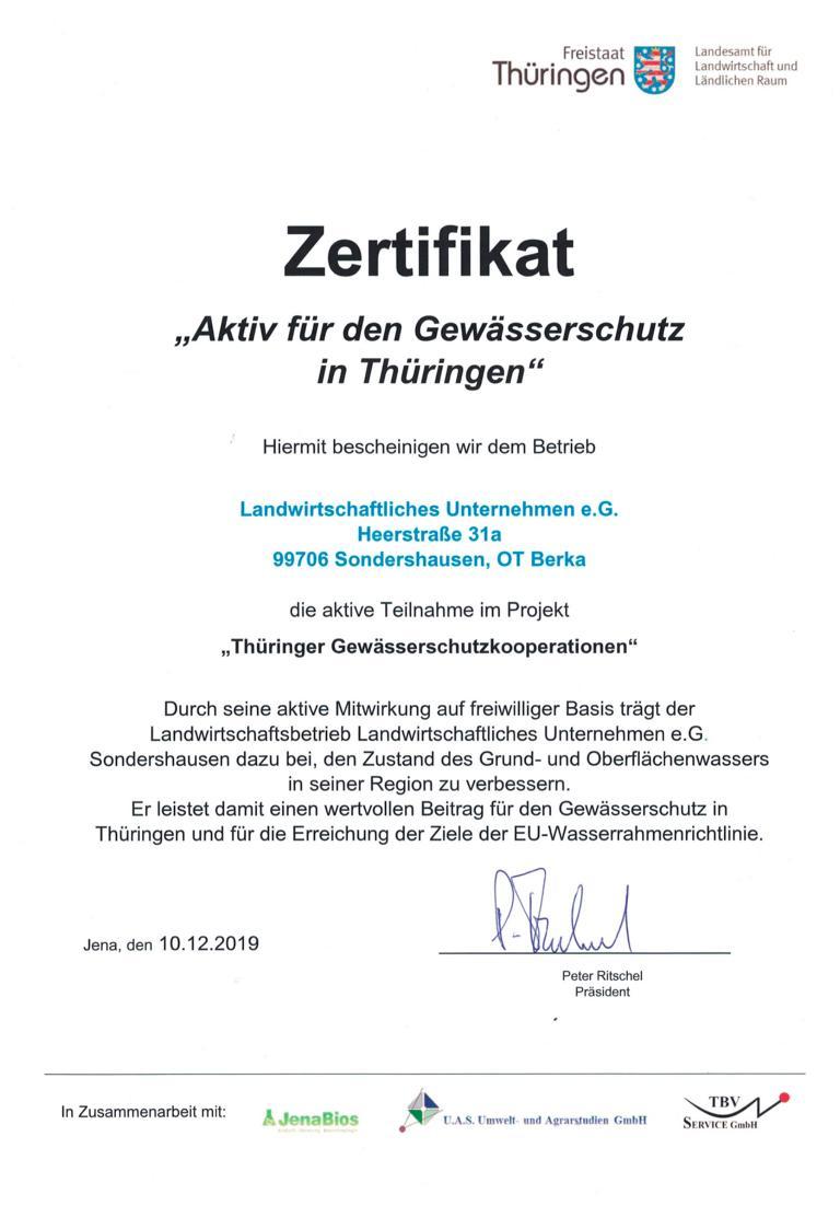 Zertifikat Gewässerschutz